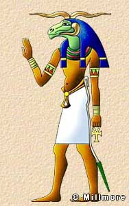 """Khnum  Khnum, was depicted as a ram-headed man. He was a god of the cataracts, a potter, and a creator god who guarded the source of the Nile,. His sanctuary was on Elephantine Island but his best-preserved temple is at Esna. The """"Famine Stele"""", which is a carved stone tablet, contains appeals to Khnum during a famine caused by a low inundation of the Nile."""