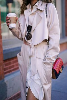 Dress: song of style blogger chanel chanel bag nude coat beige coat trench coat fall coat quilted