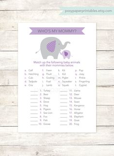 baby shower game printable elephant purple lavender grey matching game who's my mommy baby girl shower digital games - INSTANT DOWNLOAD