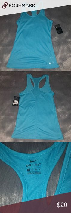 Nike Dri-fit tank top Xs Blue Nike Dri-Fit Blue tank top, size xs. Brand new with tags. All of my items come from a clean and smoke free home. Make me an offer 🙂. Nike Tops Tank Tops