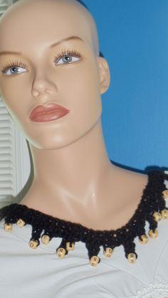 Available at Captola at Etsy.com Black crochet alphabet necklace
