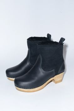 5'' Pull on Shearling Boot on Mid Heel in Black Suede