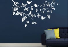 Leaves And Birds House Art, Wall Stickers, Wildlife, Nursery, Leaves, Birds, Wall Art, Home Decor, Wall Clings