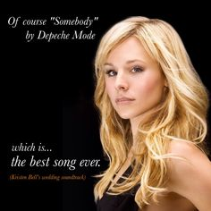 "Somebody by #DepecheMode is the best song ever"" #KristenBell #Viewsical"