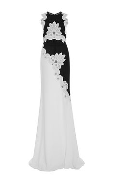 Two Tone Sleeveless Gown With Lace Appliques by Antonio Berardi for Preorder on Moda Operandi
