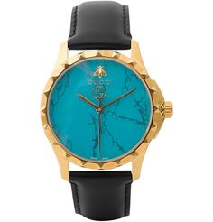 Gucci Gold Pvd-Plated And Leather Watch Mens Watches Leather, Leather Men, Modern Watches, Watches For Men, Mens Designer Watches, Gucci Brand, Gucci Watch, Gucci Men, Bracelets For Men