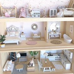A beautiful custom set of furniture and decor to fill a Plan Toy Victorian dollhouse . It is always a pleasure taking your wishlist and turning it into a mini reality. Thank you @lilylovesluka for this beautiful photo of your dollhouse. Xx . Please tap to see other makers. How amazing does all the wallpaper and backsplashes look from @minnieandmeinteriors!!! All of these will be available from next week!