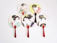 Japanese Handheld Fan Made from Postcards of Art Kunisada Asian Paper Set of 5