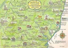 ICYMI: Vintage Suffolk Map Postcard, with parts of Cambridgeshire and Essex Suffolk Coast, England Map, Suffolk England, Ipswich England, Wales, Norwich Norfolk, Picture Postcards, British Isles, Ireland
