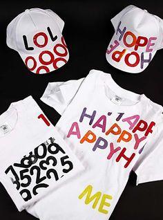Kepsar och t-shirts med bokstavstryck