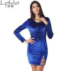 women blue bodycon slim dress Sexy velvet long-sleeved split hip dresses round neck  Plus Size Woman Clothing hot