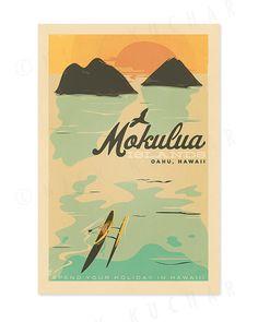 Mokulua Islands Oahu  12x18 Retro Hawaii Print by EverythingIsJake, $18.00