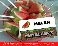 Minecraft Food Tent Cards  Minecraft Party  Instant by PartyKrafts, $4.75