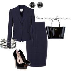 Navy Suit - perfect for work Classy Work Outfits, Preppy Outfits, Office Outfits, Cool Outfits, Office Attire, Office Wear, Skirt Outfits, Corporate Fashion, Office Fashion