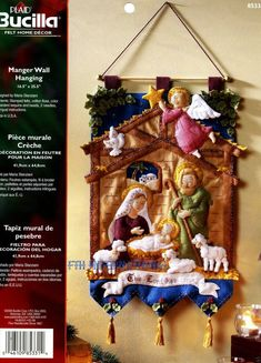Bucilla ~ Manger ~ 16 1/2 x 25 1/2 Felt Wall Hanging Kit. First Released in 2006 ~ Discontinued in 2009 ~ Released again in limited quantities in 2014 This popular kit has been remanufactured in limited quantities for 2014. The remanufactured kit is identical to the original kit A Christmas Story, Felt Christmas, Christmas Crafts, Christmas Decorations, Christmas Ornaments, Holiday Decor, Christmas Quilt Patterns, Christmas Applique, Felt Wall Hanging