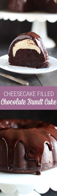 Who could beat this Cheesecake Filled Chocolate Bundt Cake with its rich yet tender chocolate cake surprise cheesecake filling and thick fudgy glaze? This recipe is YUM.