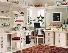 Love, the shelving around the top. This would be great for my sewing room.