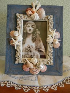 Sea Shell Decorated Picture Frame by BeachyArt on Etsy, $30.00