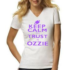 bfb002c6e Keep Calm and Trust in OZZIE Baltimore Ravens Football Black or White  ladies V neck T