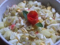 Ensalada de patata Potato Salad, Grains, Rice, Meals, Ethnic Recipes, Kitchen, Food, Gastronomia, Salads