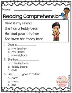 Comprehension Worksheets for Kindergarten Free Reading Prehension Reading Comprehension Worksheets, Reading Fluency, Reading Passages, Reading Skills, Comprehension Questions, Reading Response, Reading Strategies, Free Kindergarten Worksheets, Kindergarten Reading