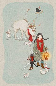 cat, girl, and illustration resmi Art And Illustration, Christmas Illustration, Belle And Boo, Korean Artist, Whimsical Art, Christmas Art, Beautiful Paintings, Cat Art, Watercolor Art