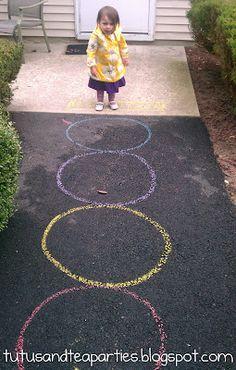 Toddler hopscotch outside gross motor game active