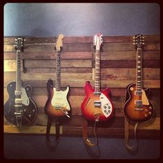 Pallet wood guitar wall