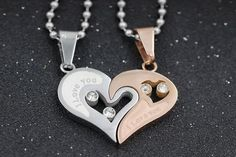 Edgy Heart Lovers Necklace for Couples