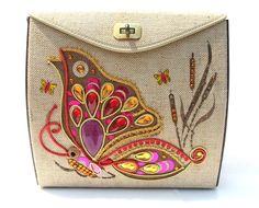 Vintage Box Purse 1960s Butterfly Sequin by mysweetiepiepie, $45.77