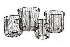 """Asst of 4 Tube Wire Baskets on OneKingsLane.com 11"""" x 11"""" x 9"""";  10"""" x 9"""" x 11"""";  14"""" x 14"""" x 12"""";  13"""" x 12"""" x 14"""""""
