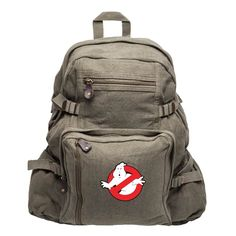 Ghostbusters Logo Army Sport Heavyweight Canvas Backpack Bag in Olive, Large ** Insider's special review you can't miss. Read more  : Backpacking bags