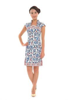 Blue Porcelain Style Cheongsam  #womenswear #chinese #clothing #dress #cheongsam #asian #fashion