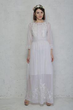 White 1970s Prairie Dress