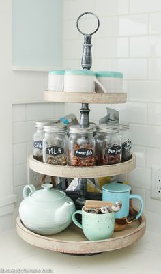 Vintage Kitchen Our Kitchen Tea Station and Tiered Trays for Kitchen Storage - The Happy Housie - Tiered tray stands are great for storage and organization or for seasonal displays; I used mine to create a tea station in our newly organized kitchen. Kitchen Countertop Organization, Kitchen Countertops, Kitchen Storage, Home Organization, Organizing Ideas, Organization Station, Kitchen Remodeling, House Remodeling, Kitchen Cabinets
