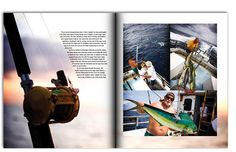 This article uses a slanted text box to make it more interesting and so that the text is cohesive with the image. It uses 3 other images on the second page to draw the viewer in more. In the left page the background of the photograph is just the right lighting to be able to read the text. They zoomed in on the fishing pole to create more interesting angles so  that it is not just another fishing rod. you are involved in the environment.