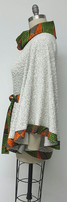 Cape Jacket. Cowl Neck. African Print. Knit by NanayahStudio