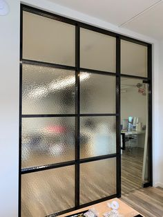 Office glass partitions often require privacy that can be achieved by the means of acid etched or textured glass. Glass Partition Designs, Glass Office Partitions, Glass Wall Design, Glass Partition Wall, Office Glass Wall, Modern Office Design, Office Interior Design, Office Interiors, Sliding Door Systems