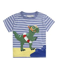 Look what I found on #zulily! Blue & White Stripe Snorkeling Dino Tee - Infant, Toddler & Boys #zulilyfinds