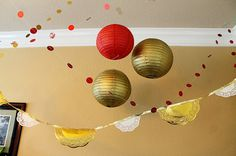 Scraps of Shirlee: A Royal Celebration doily banner dot garland paper lanterns