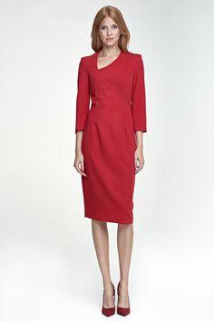 Robe avec décolleté asymétrique, rouge