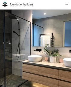 ・・・ Love this ensuite at our Mitchell St Project in Mornington. Design by built and styled… dusche Bathroom Grey, Bathroom Doors, Bathroom Wallpaper, Bathroom Renos, Laundry In Bathroom, Small Bathroom, Houzz Bathroom, Condo Bathroom, Bathroom Furniture