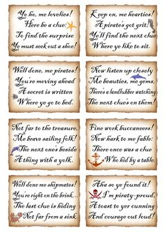 This week we've put together two sets of rhyming clues for treasure hunts. One is a pirate theme, the other is for mermaids. They make a great activity for birthday parties or any other fam… Pirate Scavenger Hunts, Scavenger Hunt Riddles, Scavenger Hunt For Kids, Scavenger Hunt Birthday, Halloween Scavenger Hunt, Christmas Scavenger Hunt, Pirate Day, Pirate Birthday, Pirate Theme