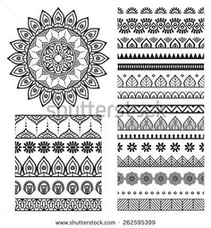 Mehndi Indian Henna Tattoo Seamless Pattern Stock-Vektorgrafik (Lizenzfrei) 277911125 - New Site Mandala Doodle, Mandala Art Lesson, Mandala Artwork, Mandala Drawing, Mandala Painting, Doodle Art, Mandala Symbols, Mandala How To Draw, Mandala Sketch
