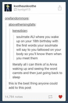 Ok, did anyone else read the carrots bit and automatically assume Anna was supposed to be Anne and she thought of Gilbert?!!