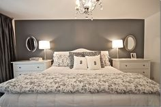 Love the gray and white colors of the walls...but can change accent colors on the furniture