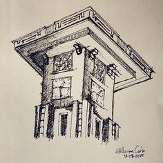 Relógio da Avenida Goiás.  Inaugurado em 1942 durante o batismo cultural da nova Capital,  Goiânia, fundada em 1933.  #desenhosdoalti #desenhos #sketch #sketchbook #mymoleskine #Goiania #Goias #Relogio #ArtDecó #Arquitetura #Urbanismo #illustration #dibujo #historia #nankin #draw #drawing #art #artlovers #instaart #instartist #artworks #igersgoiania #weekend