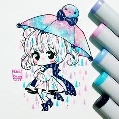 Ame, ame, ame~ Puedo dibujar las cosas más kawaii y tristes esta noche(?)