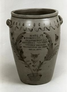 This jar, considered by many to be Charles Decker, Sr.'s masterpiece, is dated Sep. 1884 and is 26 inches high and 55 inches in diameter. It won blue ribbons at regional fairs and served to advertise Decker pottery. Antique Crocks, Old Crocks, Antique Stoneware, Stoneware Crocks, Antique Pottery, Stoneware Clay, Earthenware, Pottery Art, Glazed Pottery