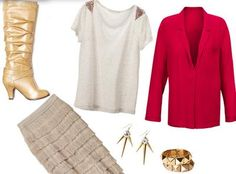 Creative Outfits From Basic Cloths: 9 outfits from 9 different pieces - Glam style fringe skirt bold blazer and  gold jewelry
